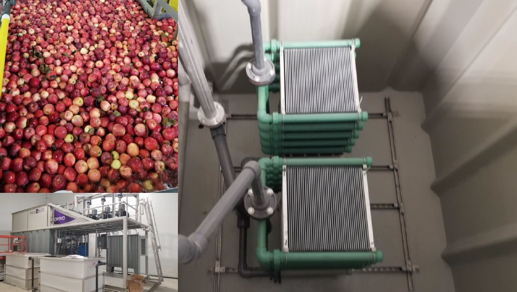 Application: MBR containerized  Location: USA  Description: Apple washwater combined with sewage water treated in containerized MBR plant