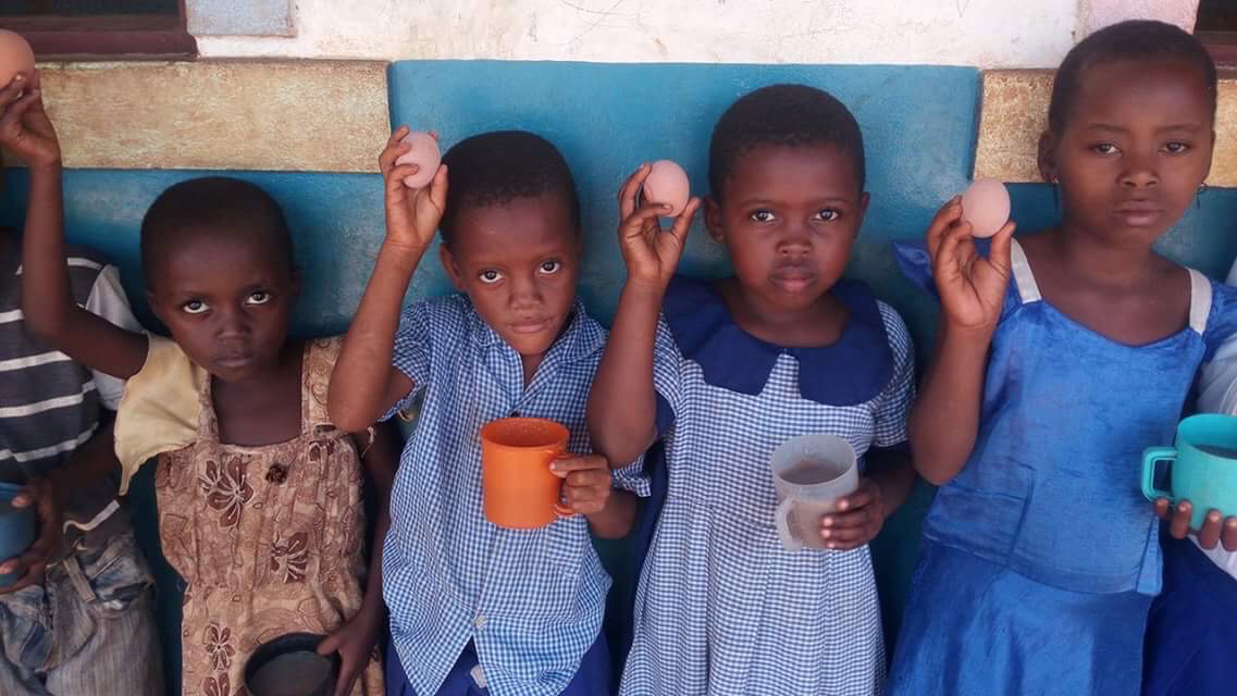 The Trust provides free range eggs to children to battle malnutrition