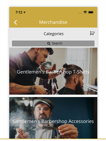 MERCHANDISE - Mobile shopping trends are pointing to m-commerce as the future of shoppers. The Merchandise feature is a simple way for your business to make sales through the app. Build your own in-app marketplace or integrate your online store using the e-commerce.