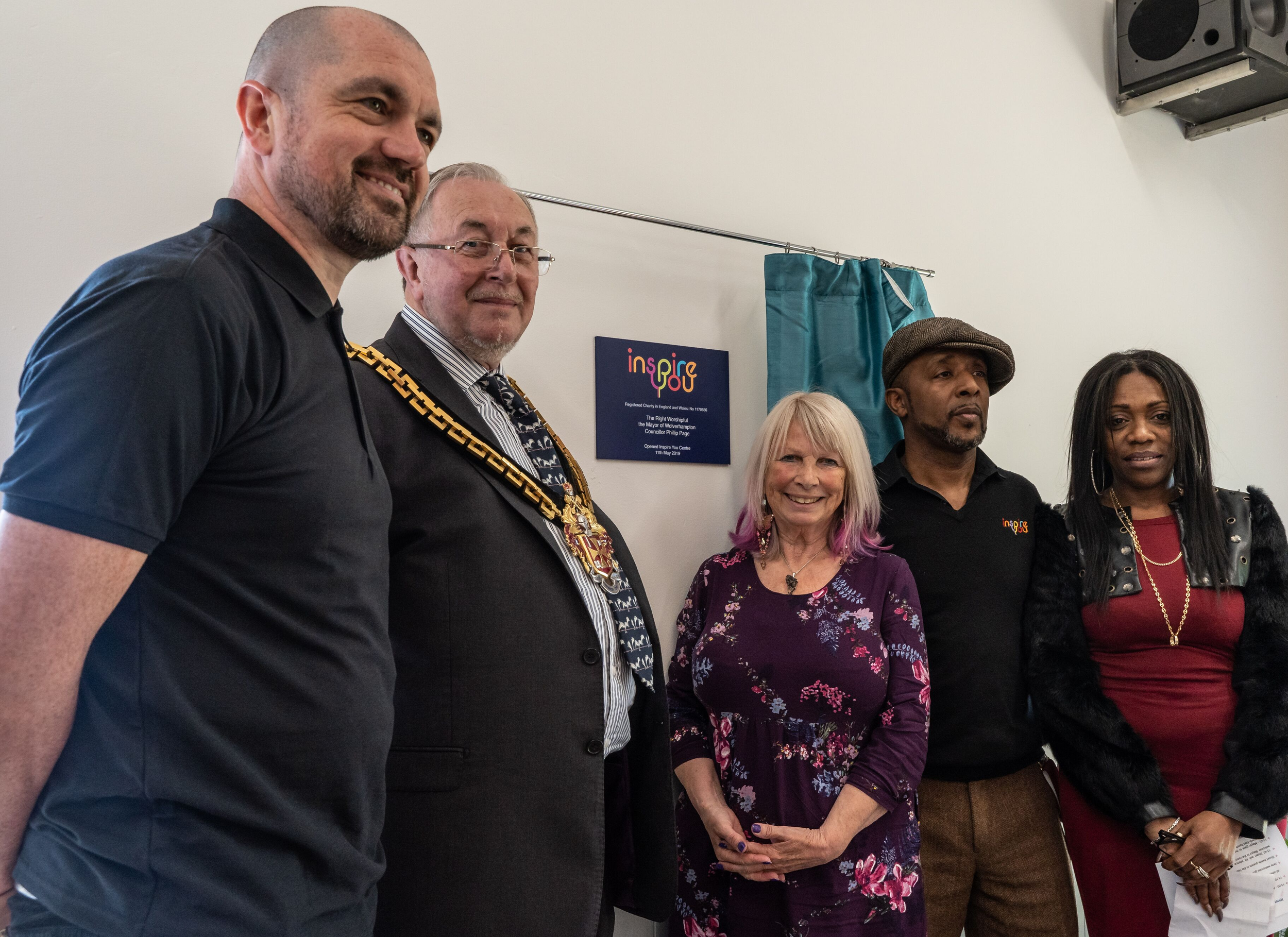 The Mayor opens the Inspire You Centre 11 May 2019 - Trustees Stuart Grosvenor and Jane Noble Knight with Inspire You founder, Leslie & Carol Fairclough with the Mayor of Wolverhampton Councillor Phillip Page