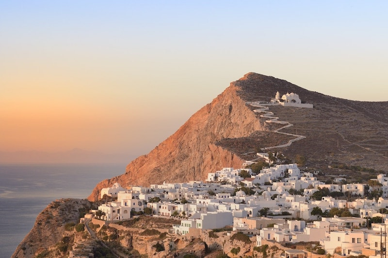 White cubic houses are a feature of cycladic architecture.