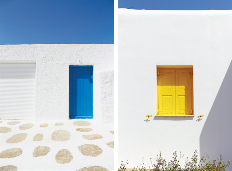 Greek islands houses typically have blue windows.