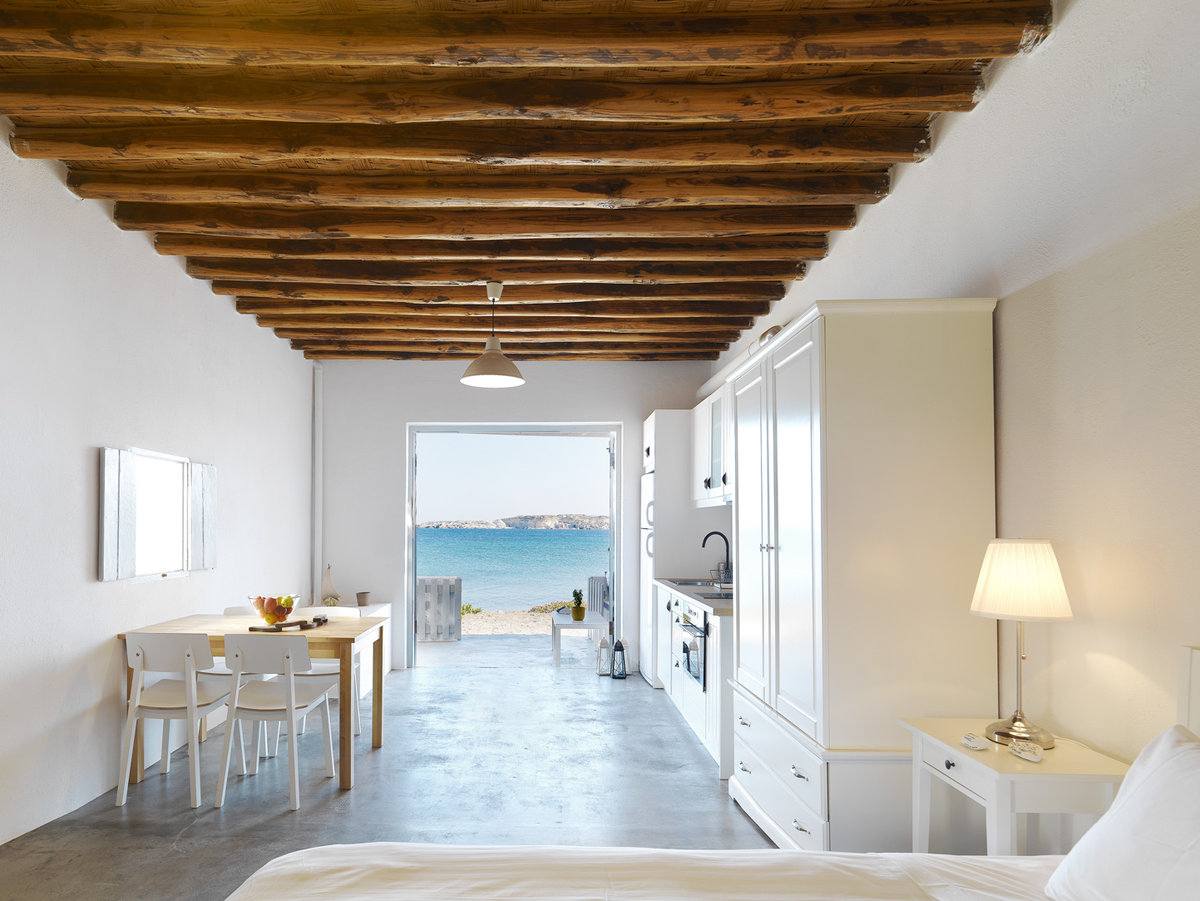Exposed beams are usual in greek island houses.