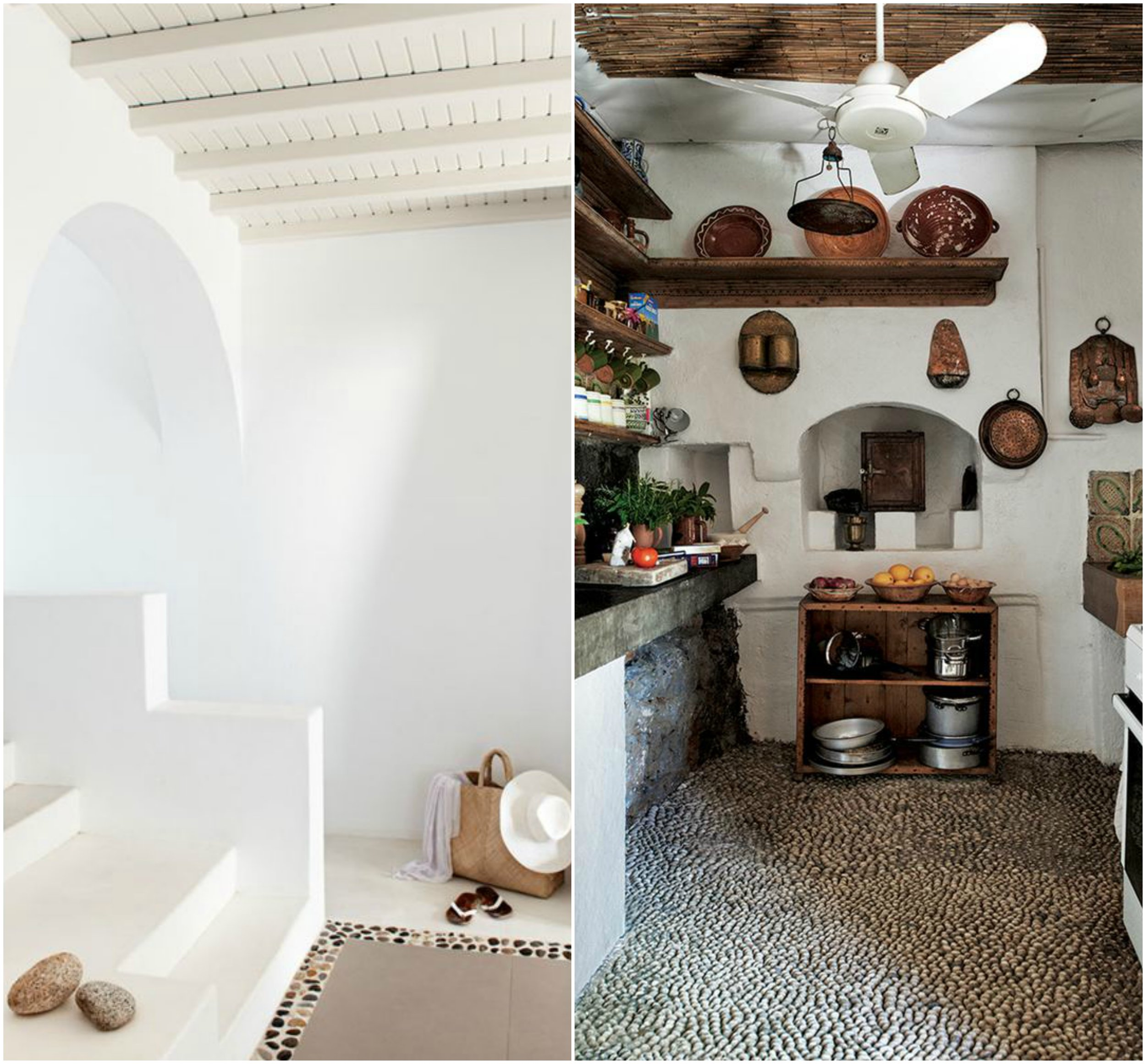 Pebbles are used as floor in greek style interiors.