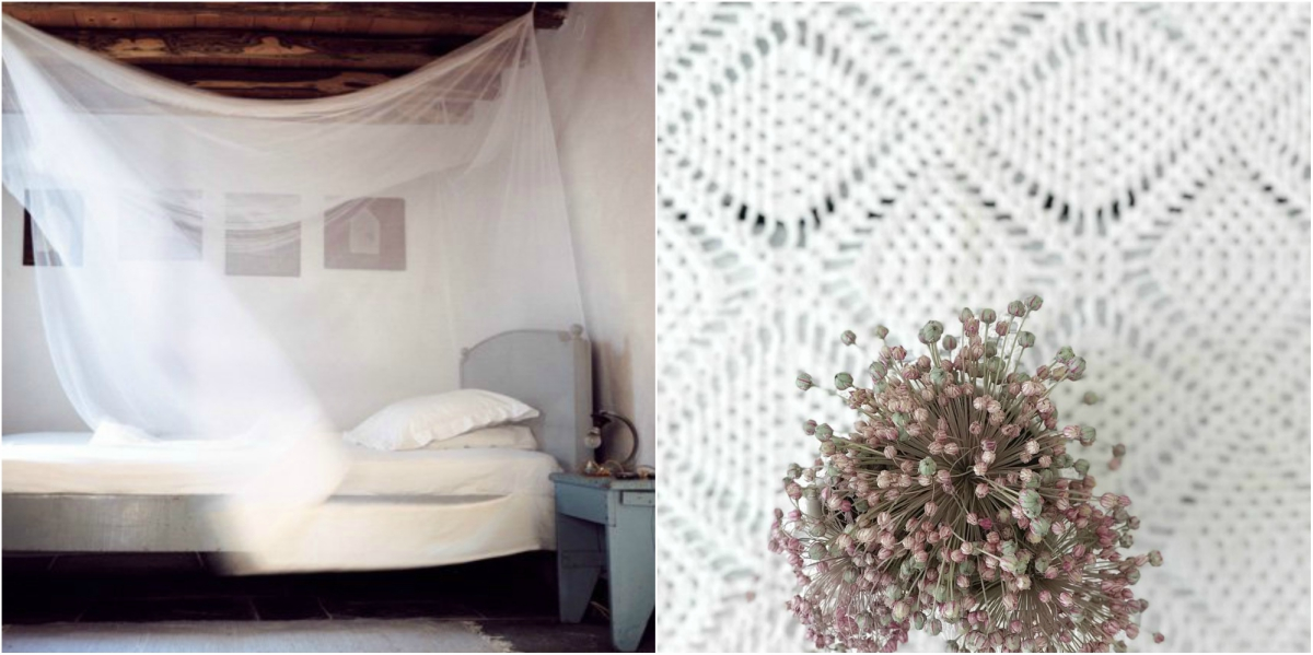 Light semi transparent fabrics and traditional embroidery and knits are a perfect match with greek style interiors.