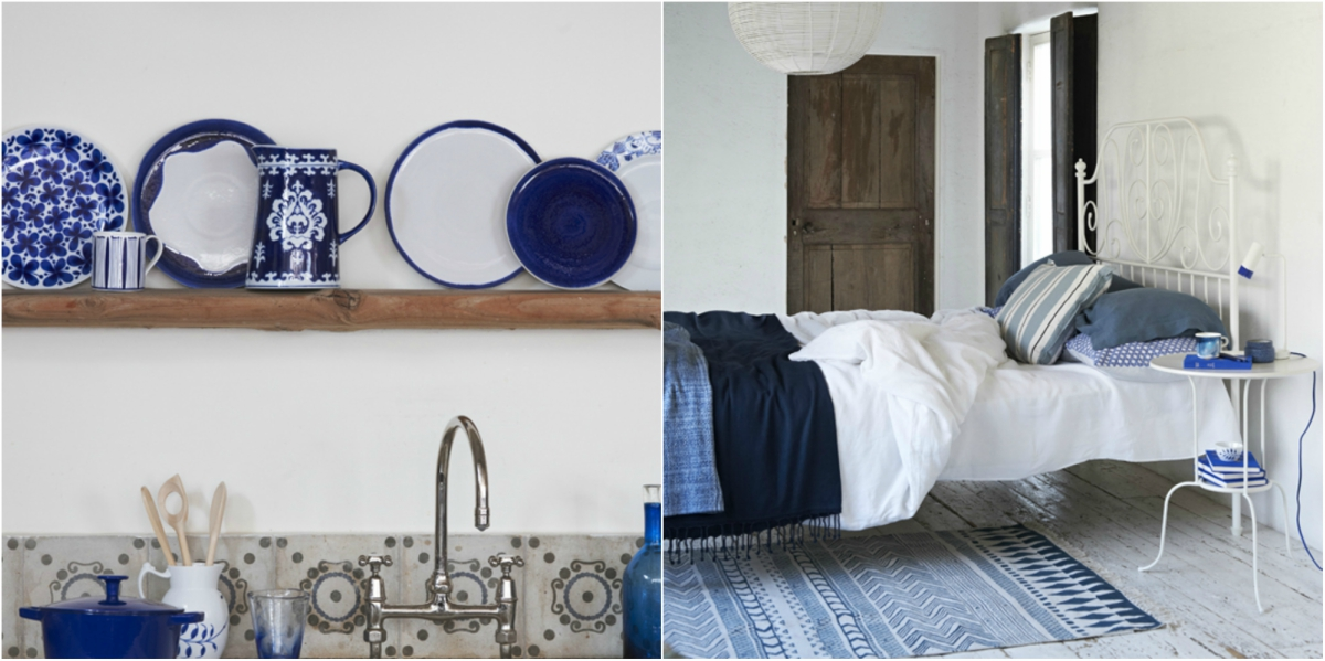 If you want to copy the greek islands style use accessories and textiles to add blue color in your space.