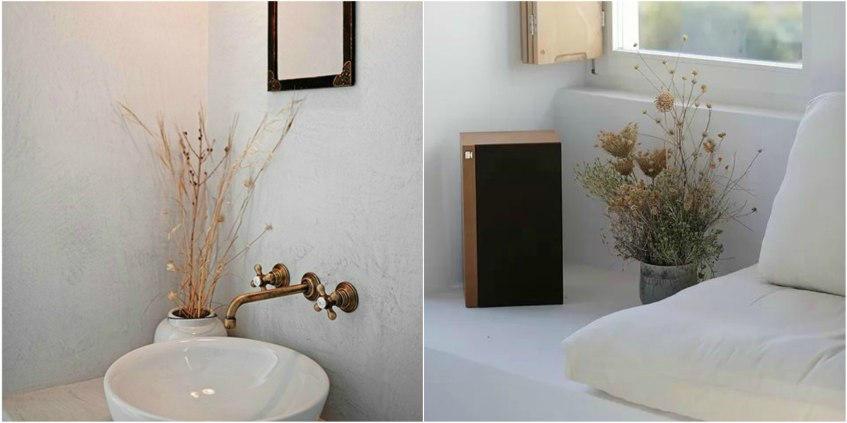 Dried flowers and herbs are the right decorative accessory for a greek island style house.