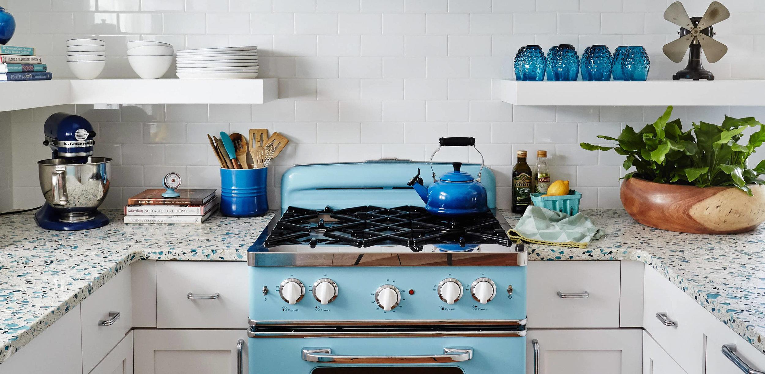 Terrazzo looks beautiful in a retro kitchen