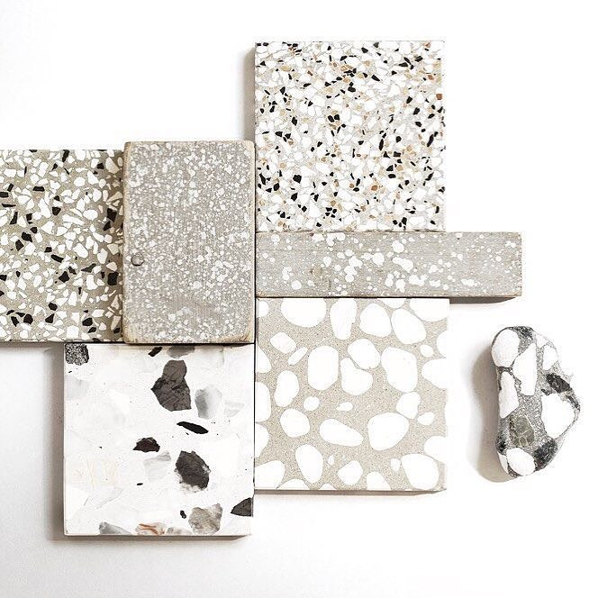 Grey terrazzo tiles