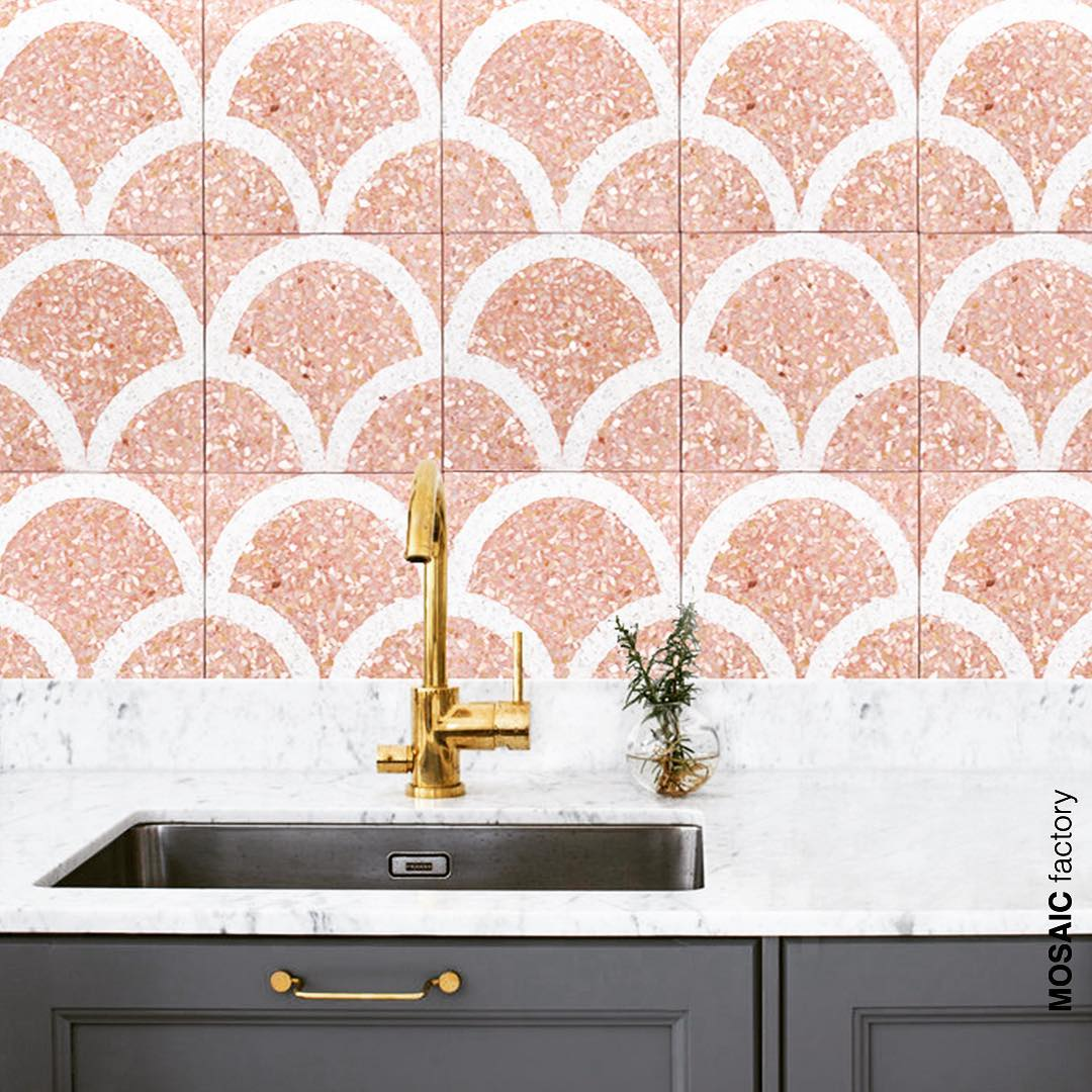 Pink terrazzo tile with pattern