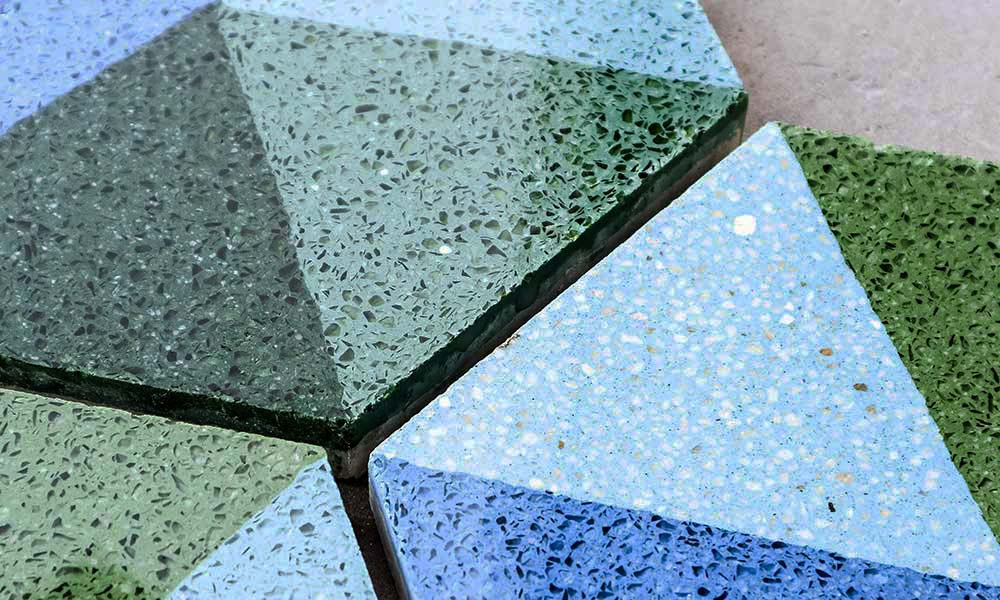 Blue and green terrazzo tiles