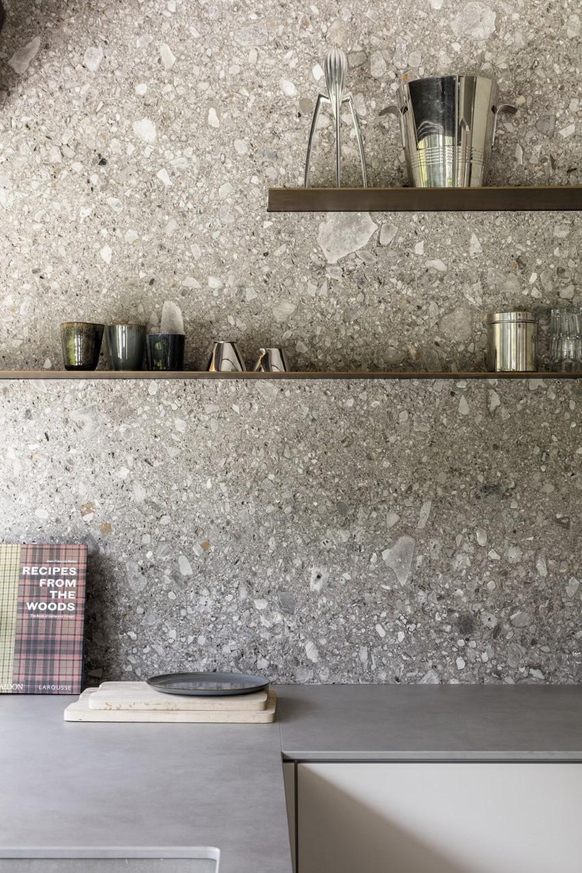 Grey terazzo kitchen wall