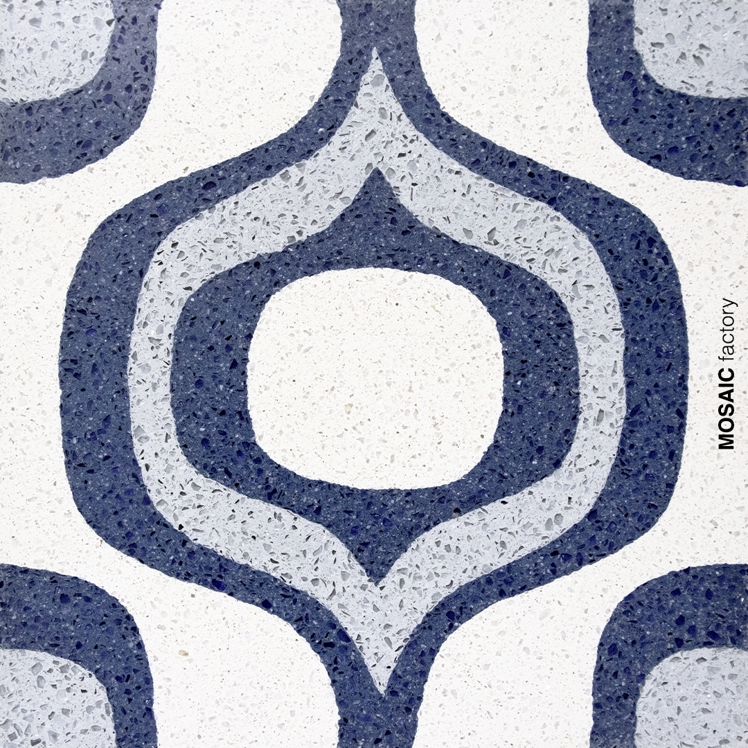 Blue terrazzo tille with pattern