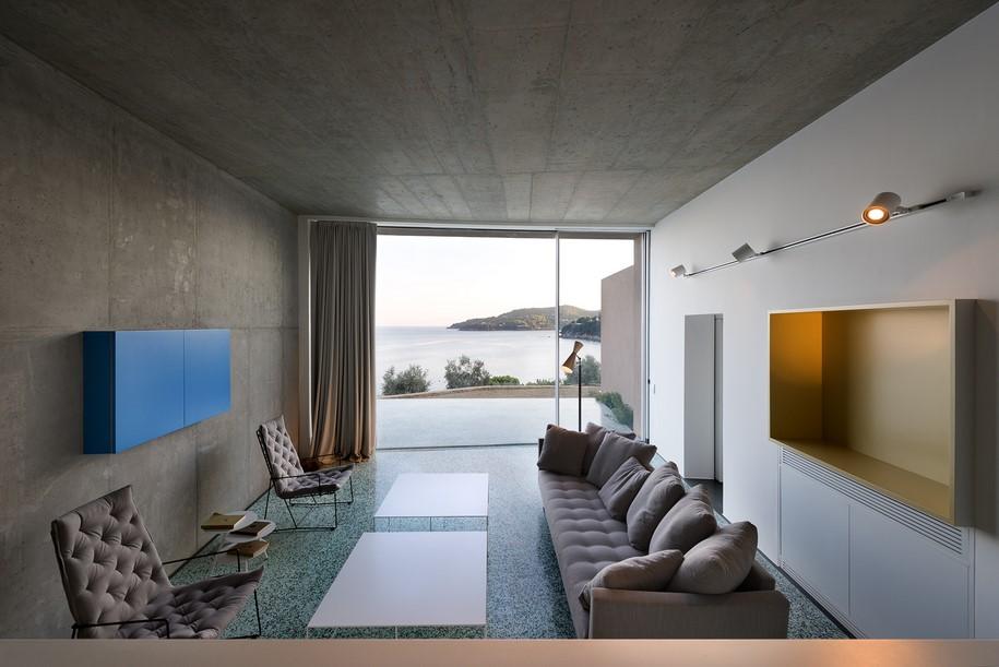Green terrazzo floor in greek island house