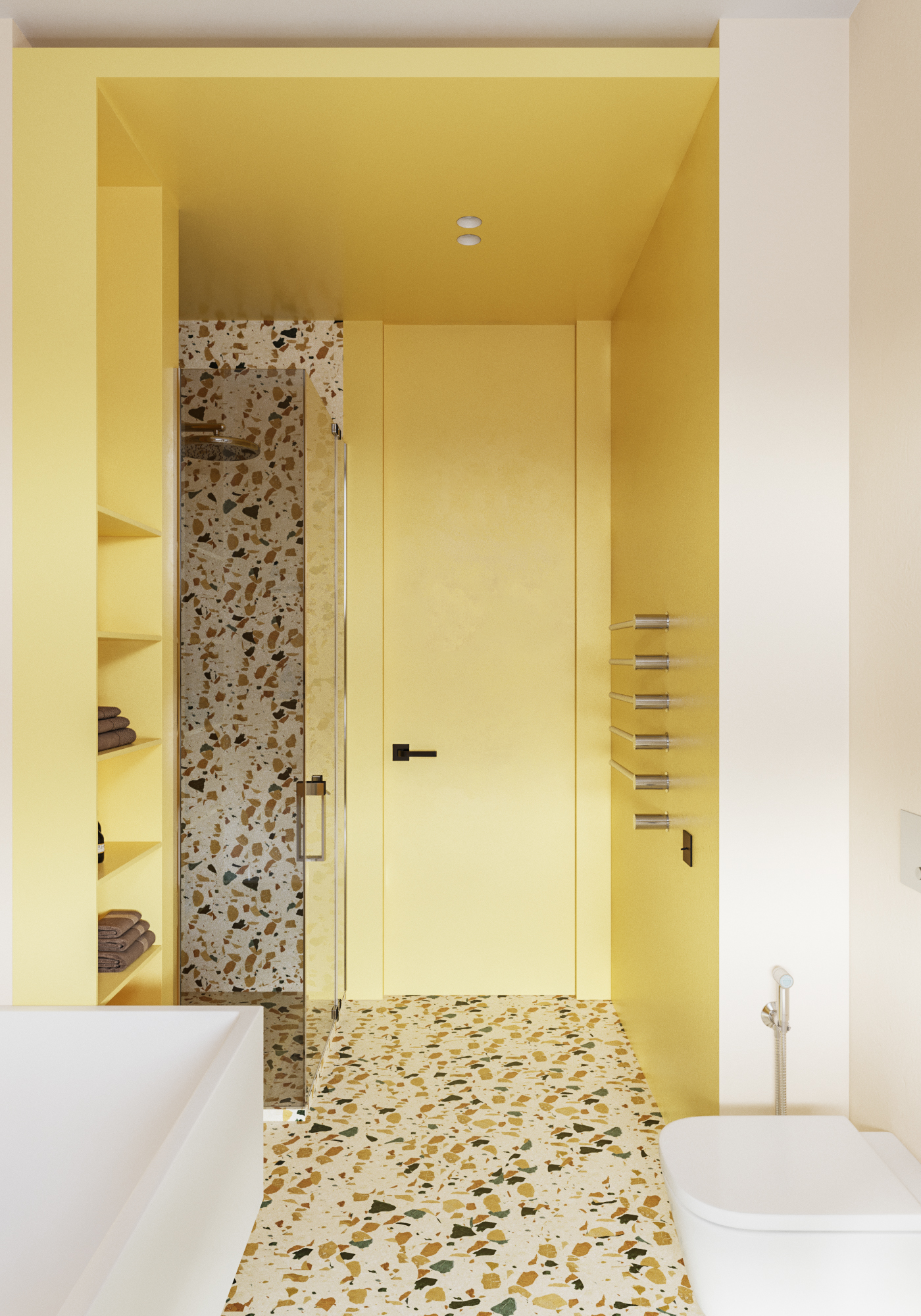 Yellow and brown terrazzo in bathroom