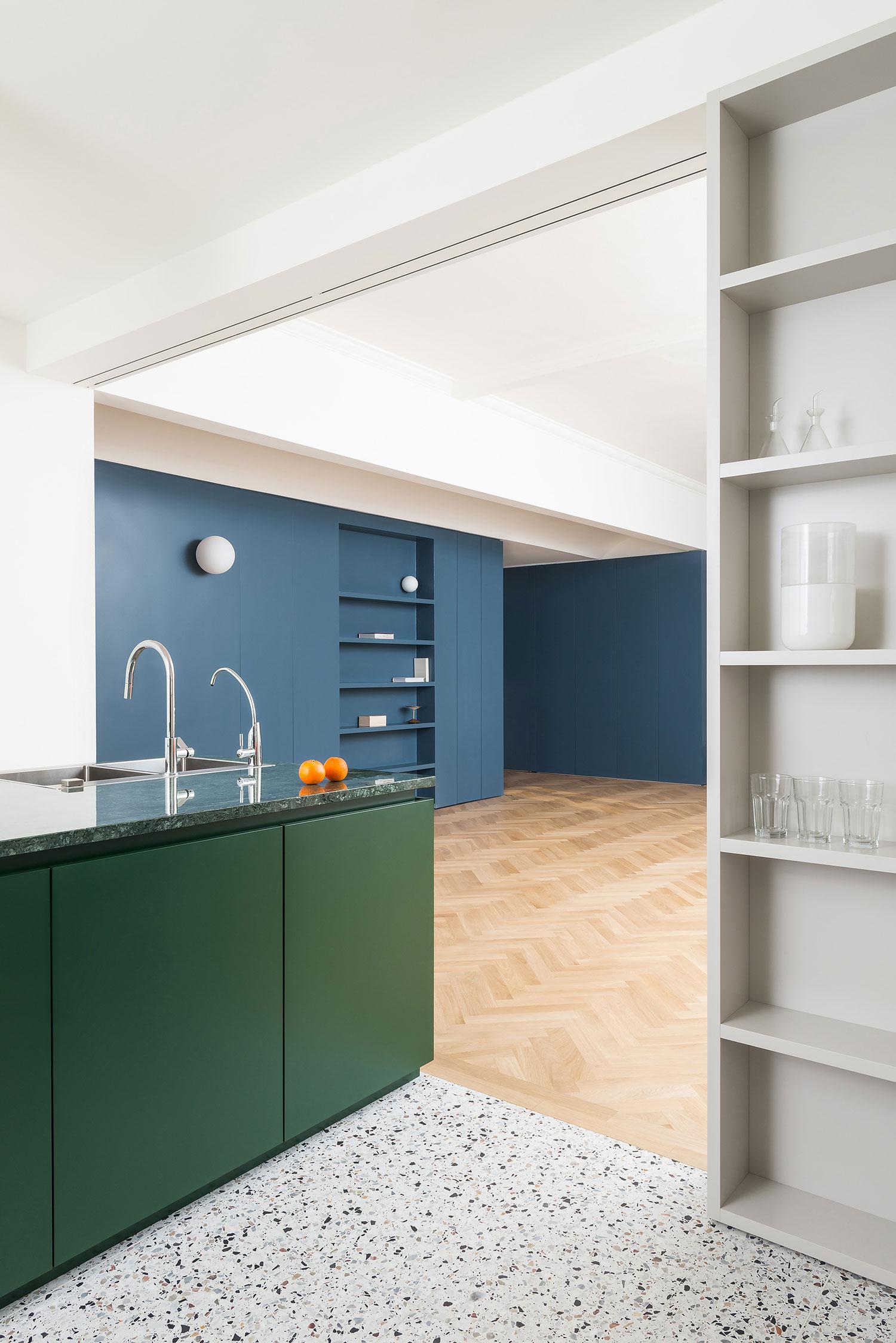 White and grey terrazzo kitchen floor