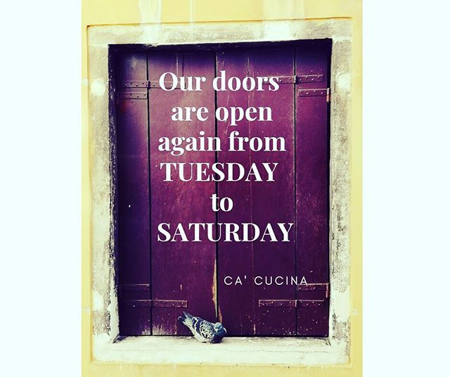 Dear family of CA', just so you remember, we are open again from TUESDAY to SATURDAY! Come for good food and wine! #cacucina #hellerup #denmark #veneto #diego #italiensk #italienskmad #italienskvin #cosy #hyggeinhellerup #veryitalianfood #italyincopenhagen #madaboutcopenhagen #rusticdecor #ambience #family