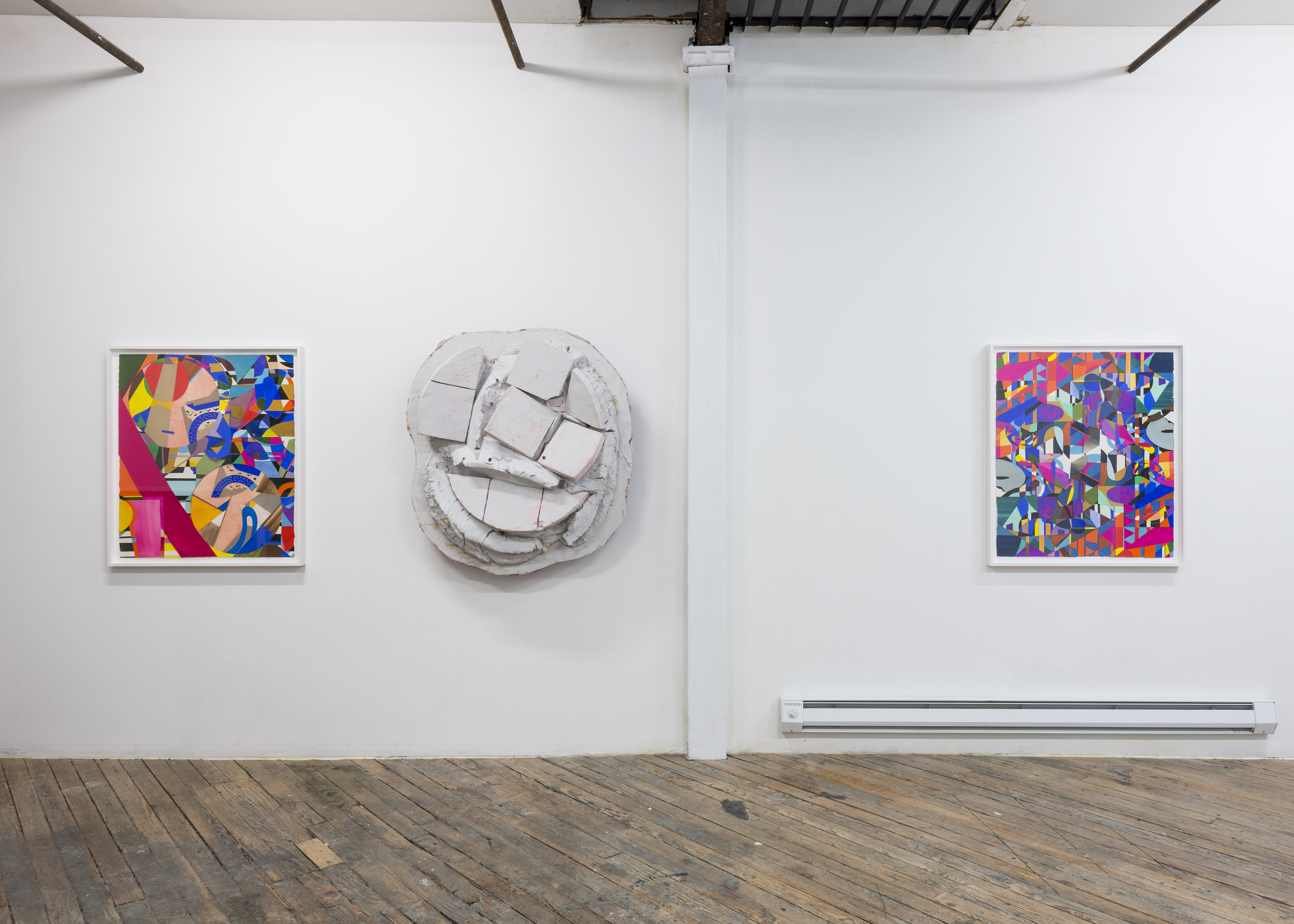 "Installation view, ""Ouroboros is Broken"" (with Jerry Blackman), Hometown, Brooklyn, 2016"