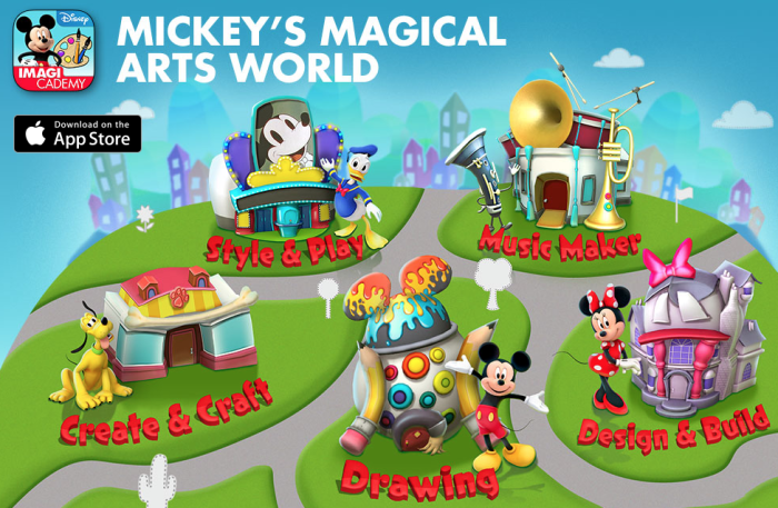 Mickey's Magical Arts World, a digital learning app by Disney.