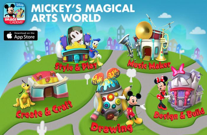 Mickey's Magical Arts World, a digital learning app by Disney.