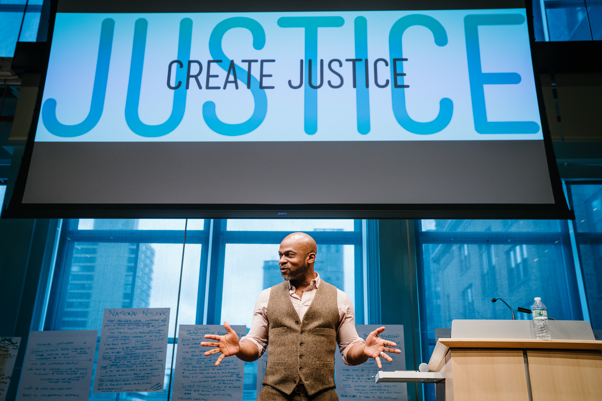 Mark Bamuthi Joseph presenting at Create Justice March 2018. Photo by Fadi Kheir.