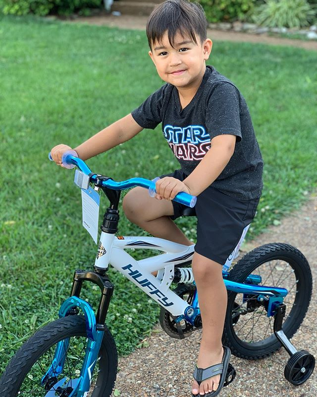 """Yep. Little buddy got his first bike...   Early birthday presents from G'Ma are rad! Maybe it's moments like these that inspired 80's films like """"RAD"""".    #thanks #pocketsofjoy #wheresthejoy #wheresthejoybook #yeahbubby #firstbike #momentsintime #joy #dadslife #radracing"""
