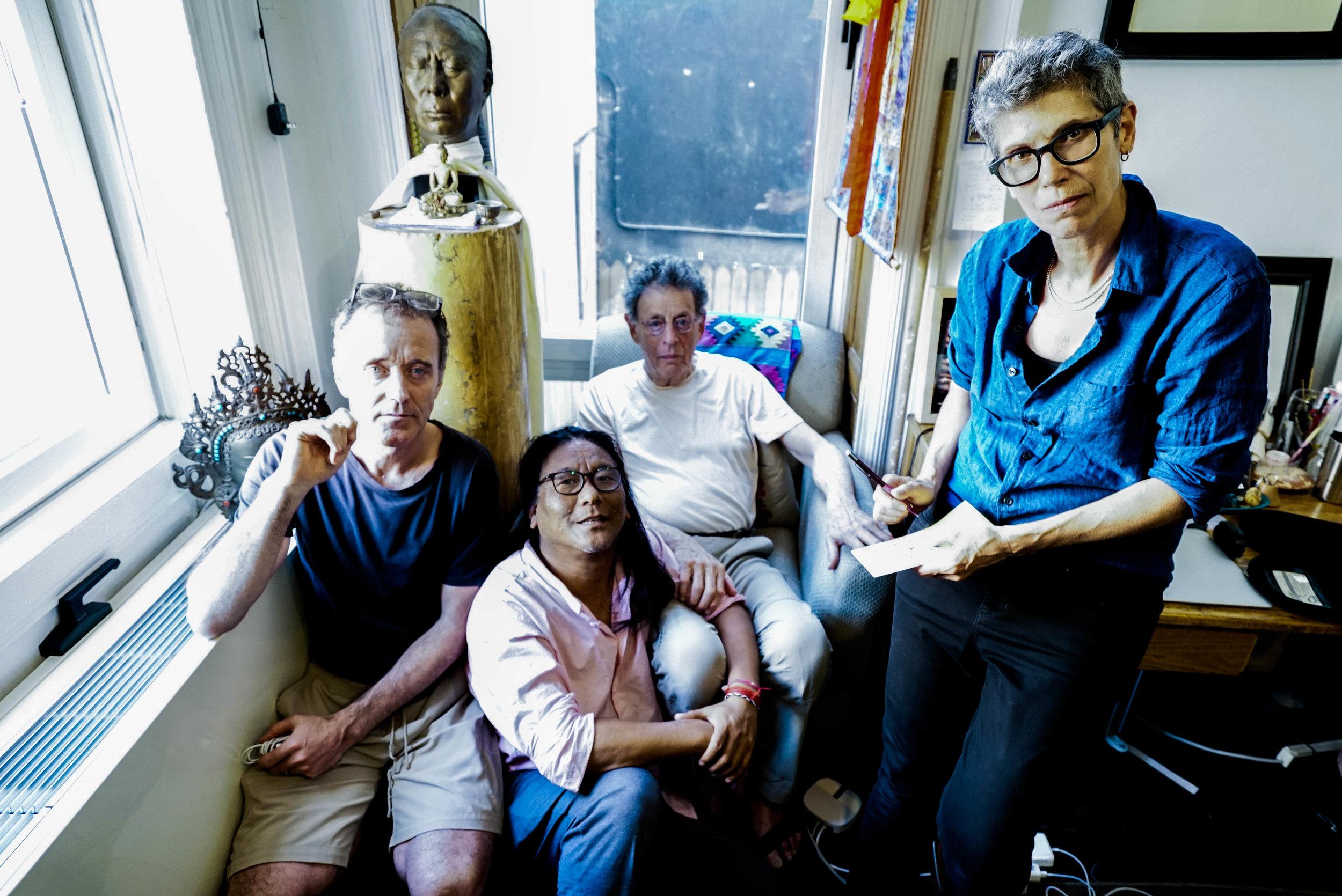 Left to right: Kevin Joyce, Tenzin Choegyal, Philip Glass, Nikki Appino