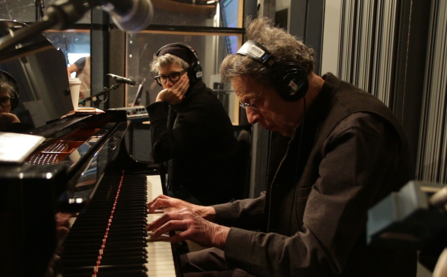 Building the score - Philip Glass and Nikki Appino at the February recording session making a demo of the music at NYU…