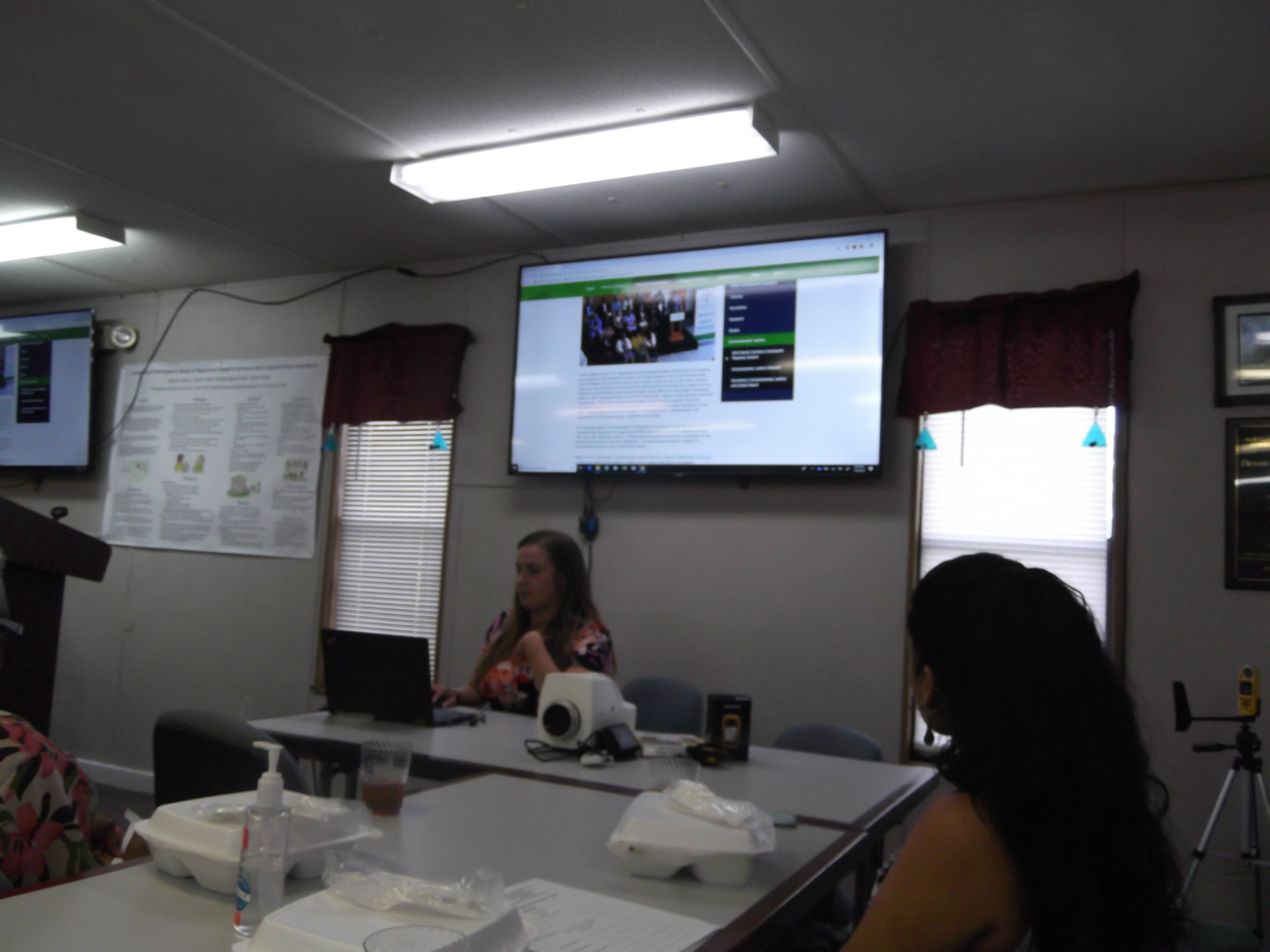 Renee Kramer for the NC Department of Environmental Quality (DEQ) educates REACH members about the DEQ North Carolina Community Mapping System. Learn more at  https://deq.nc.gov/outreach-education/environmental-justice/deq-north-carolina-community-mapping-system