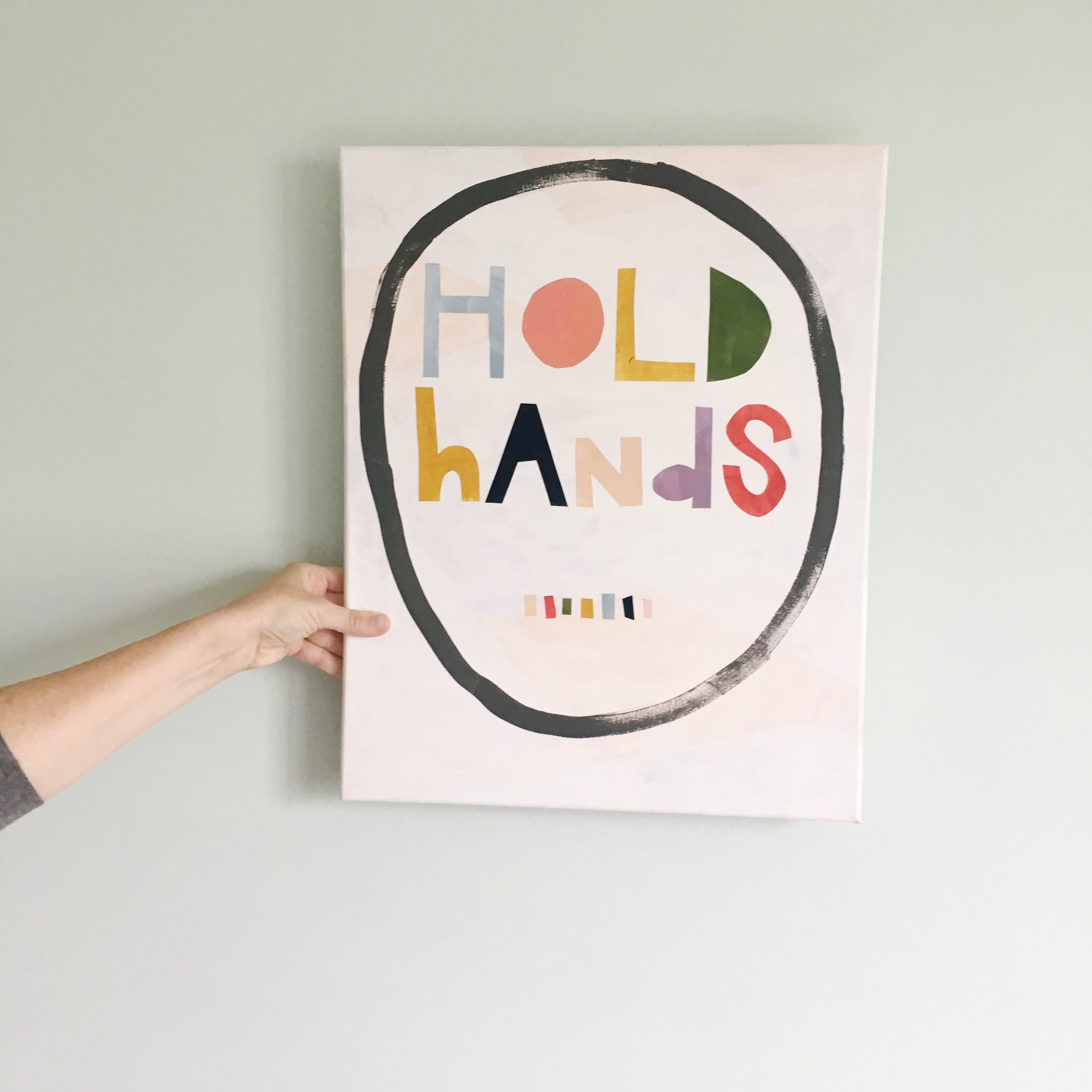 hold hands acrylic collage painting by brooke petermann.JPG