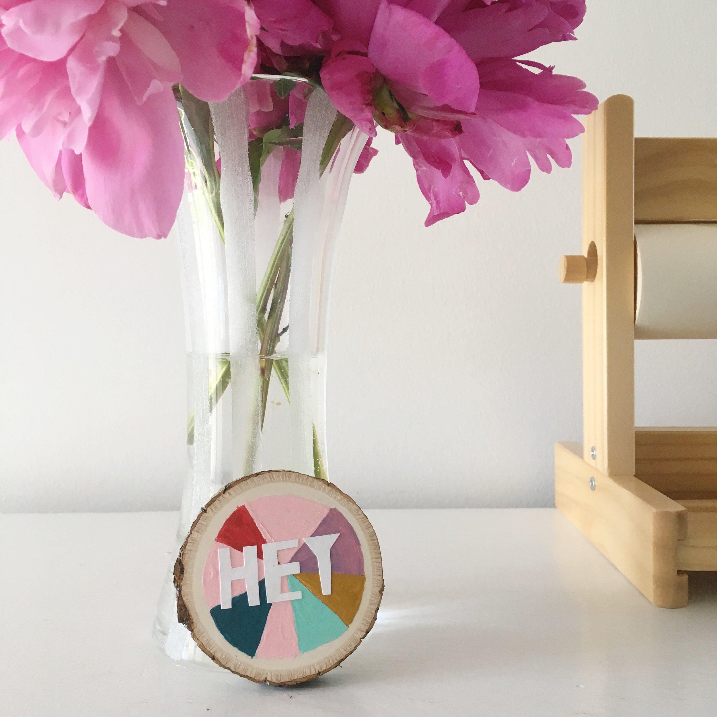 happy modern mini art on wood round by brooke petermann.JPG