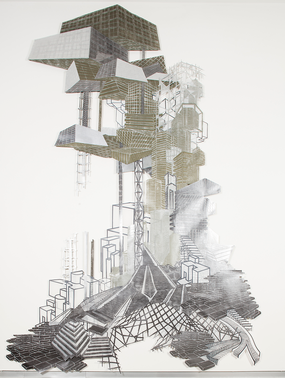 "Babel Revisited: History Repeats Itself (Tower 1)  2014; Woodcut and silkscreen on mylar, collage; 116"" x 114"""
