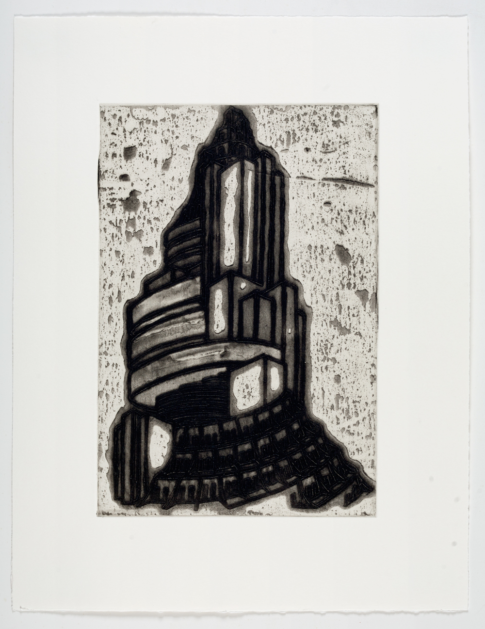 """Ideal Structures for a Dubious Future (Spiral Tower)  2012; Explosive intaglio on paper; 16 3/4"""" x 12""""; Self published; Edition of 12"""