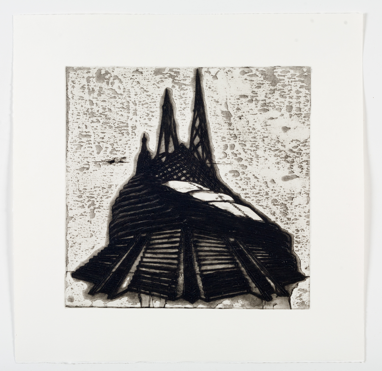 """Ideal Structures for a Dubious Future (Pyramid Temple)  2012; Explosive intaglio on paper; 16 7/8"""" x 16 3/4""""; Self published; Edition of 12"""