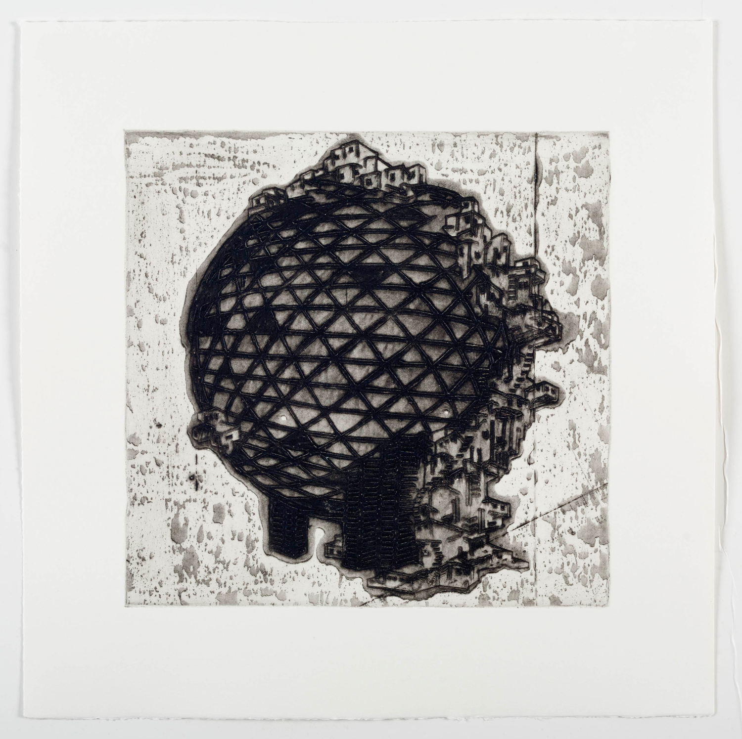 """Ideal Structures for a Dubious Future (Globe Sprawl)  2012; Explosive intaglio on paper; 17"""" x 17""""; Self published; Edition of 12"""