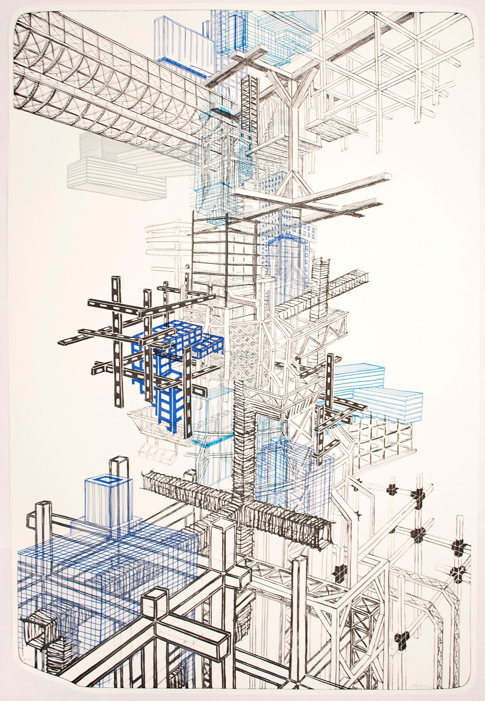 """Infrastructure +1  2012; Lithography on paper; 44"""" x 29 3/4""""; Published by Tamarind Institute; Edition of 12"""