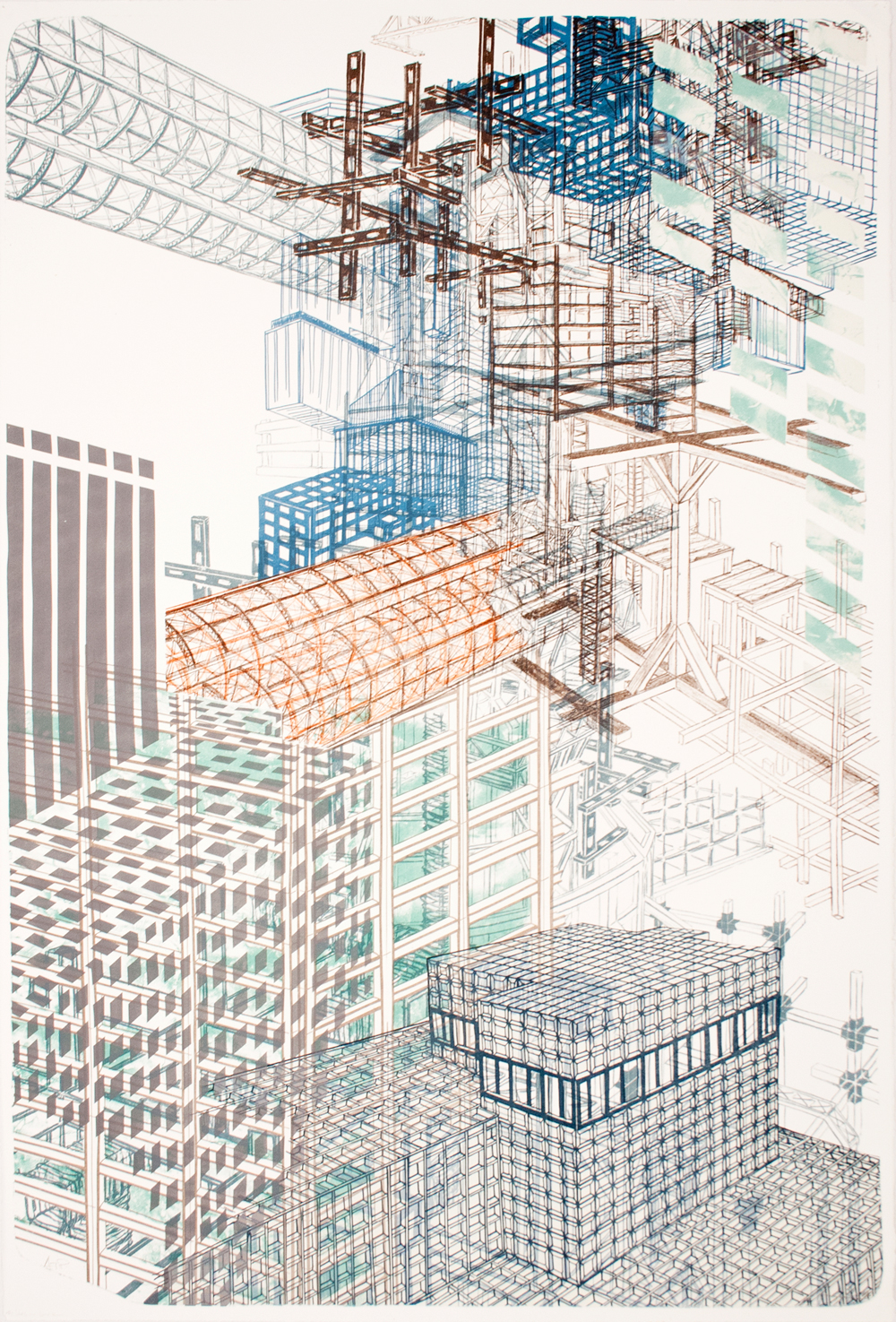 """Infrastructure +3  2012; Lithography on paper; 44"""" x 29 3/4""""; Published by Tamarind Institute; Edition of 12"""