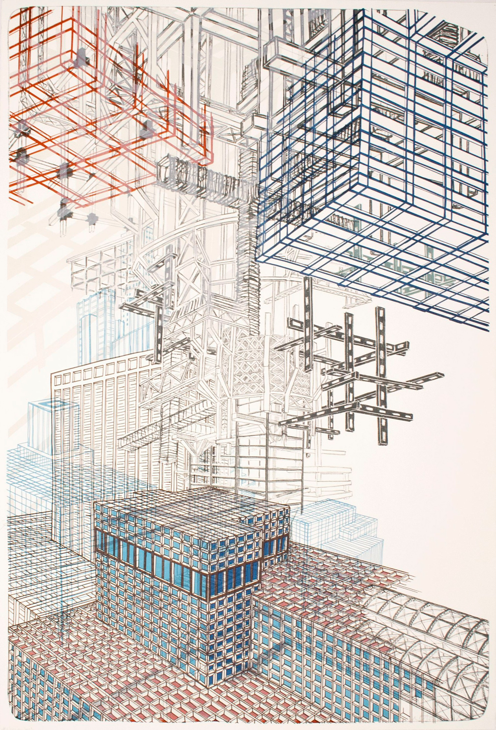 """Infrastructure +2  2012; Lithography on paper; 44"""" x 29 3/4""""; Published by Tamarind Institute; Edition of 12"""