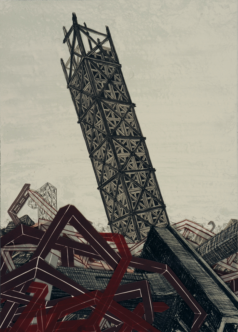 """Monument VII  2009; Lithography on paper; 21"""" x 15""""; Published by Tamarind Institute; Edition of 12"""