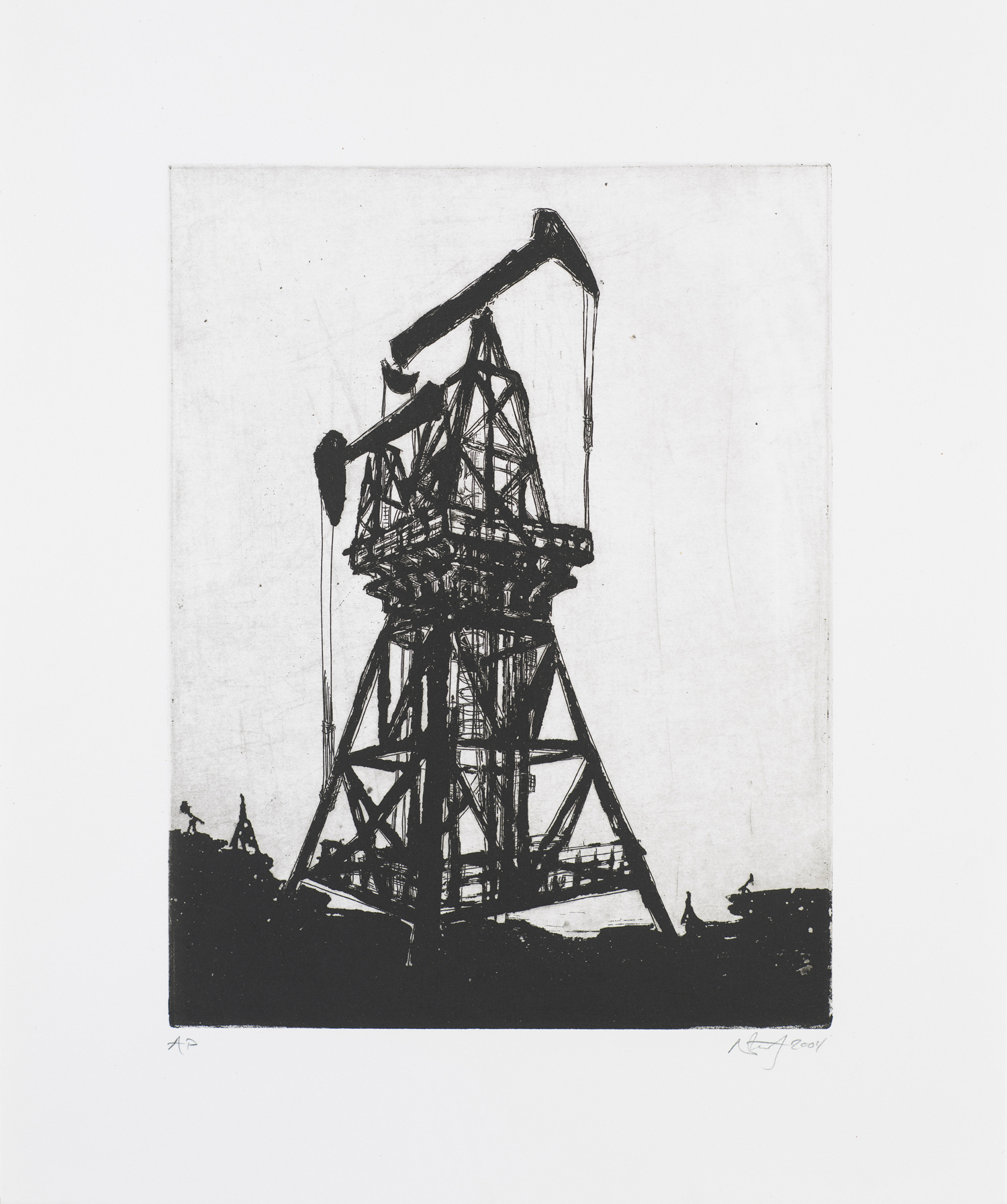 """Monument I (Oil-Rig)  2004; Intaglio on paper; 14.5"""" x 12""""; Self published; Edition of 12"""