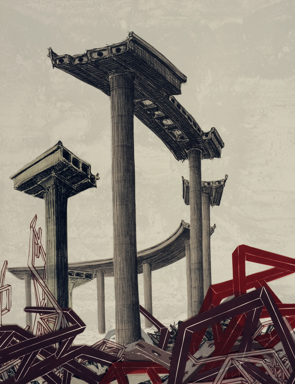 """Monument VI  2009; Lithography on paper; 26"""" x 20""""; Published by Tamarind Institute; Edition of 12"""