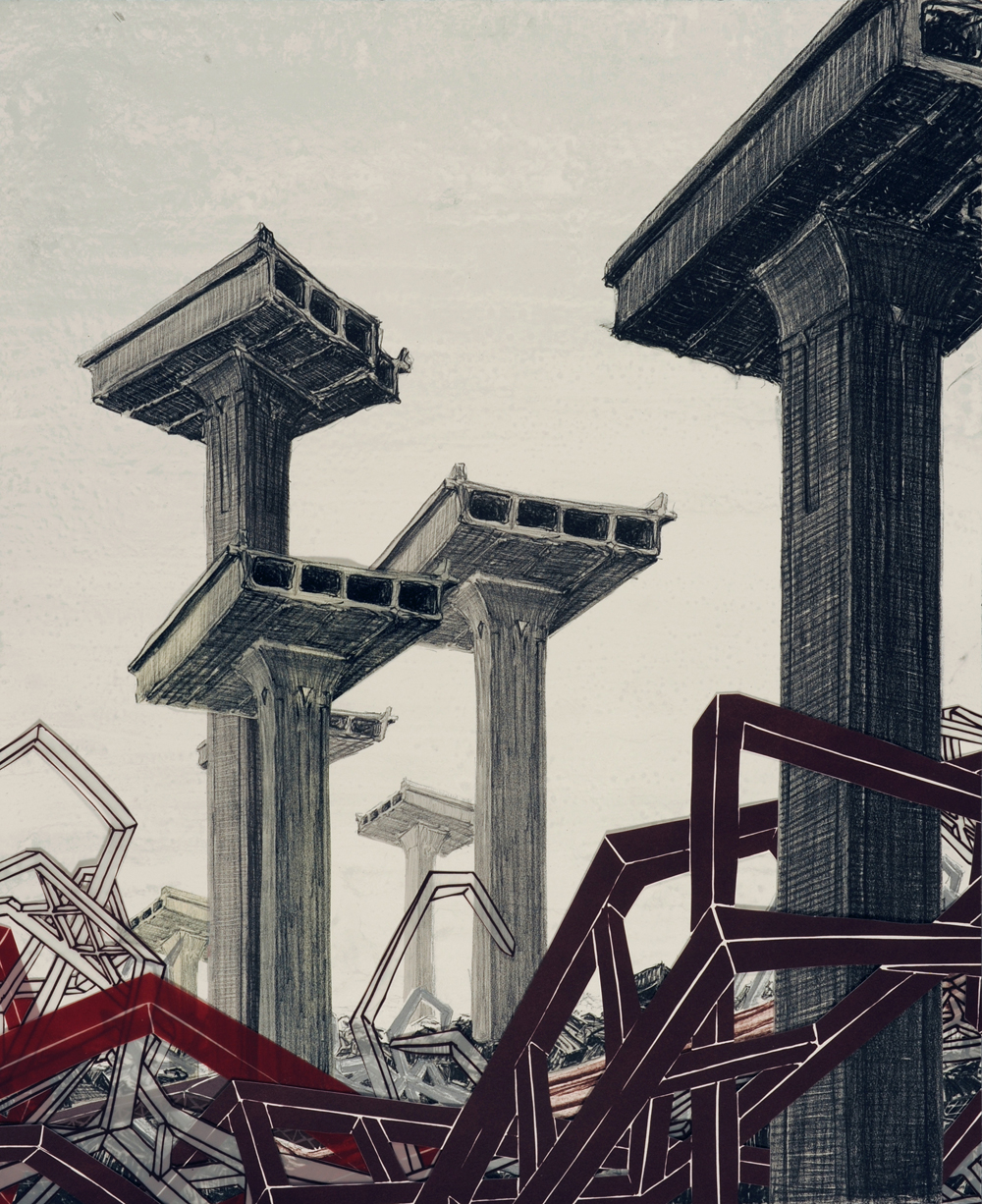 """Monument V  2009; Lithography on paper; 22"""" x 18""""; Published by Tamarind Institute; Edition of 12"""
