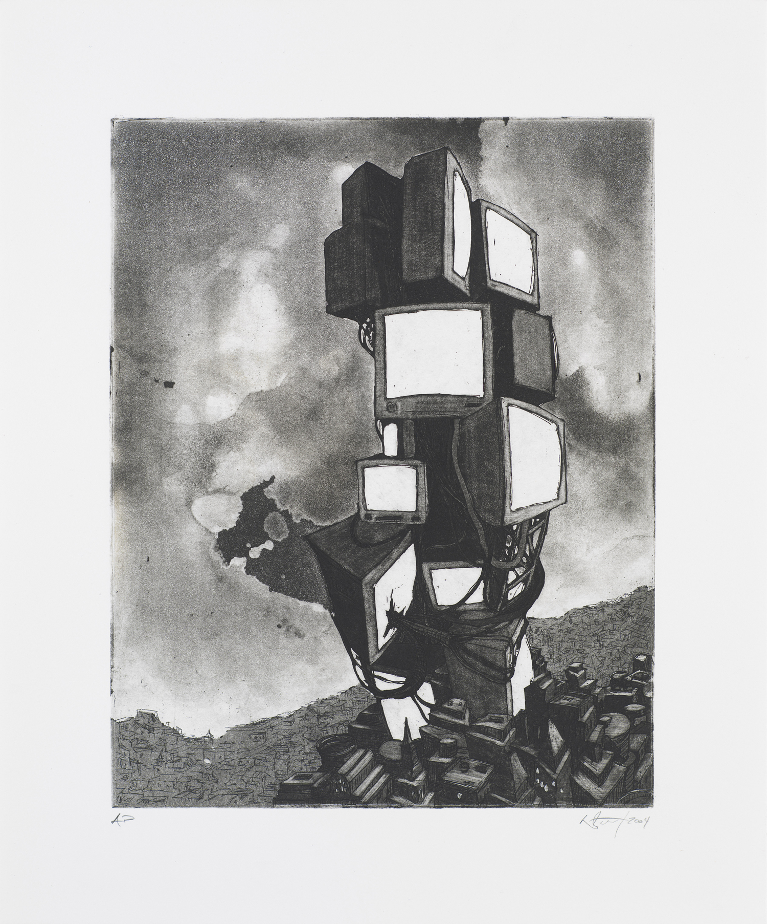 """Monument III (TV)  2004; Intaglio on paper; 14.5"""" x 12""""; Self published; Edition of 12"""