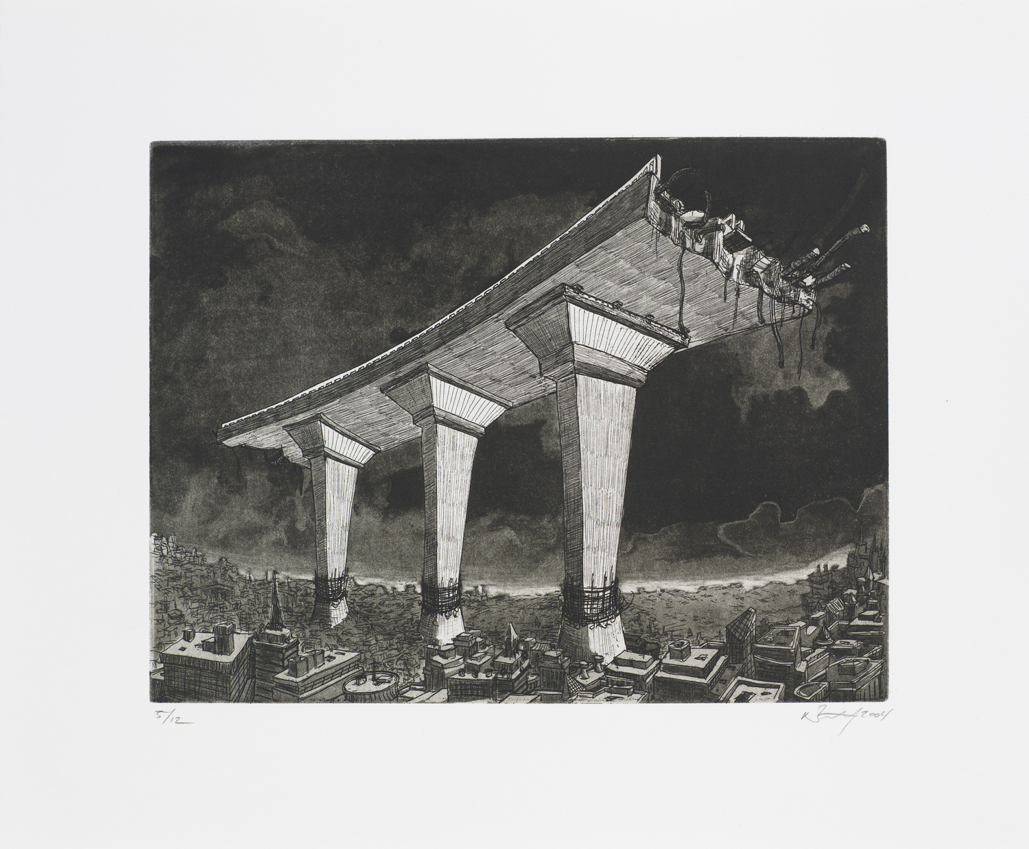 """Monument II (Road)  2004; Intaglio on paper; 12"""" x 14.5""""; Self published; Edition of 12"""