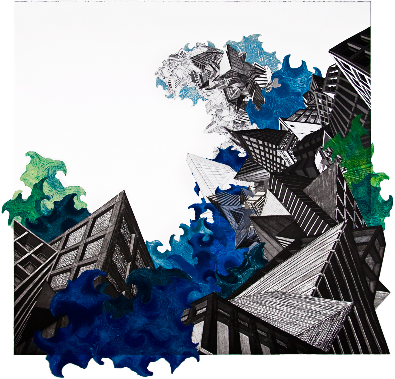 """Water  2008; Etching, carborundum collograph and collage on paper; 41"""" x 41""""; Published by Pace Editions; Edition of 20"""