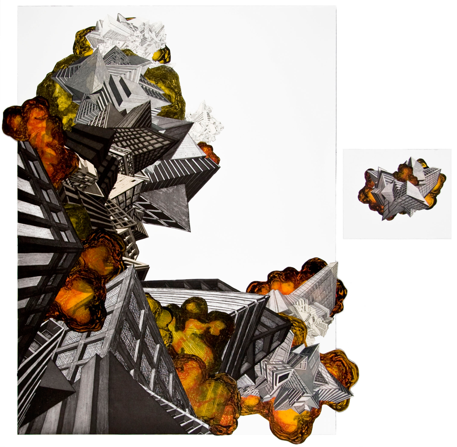 """Fire  2008; Etching, carborundum collograph and collage on paper; 47.5"""" x 35.75""""; Published by Pace Editions; Edition of 20"""