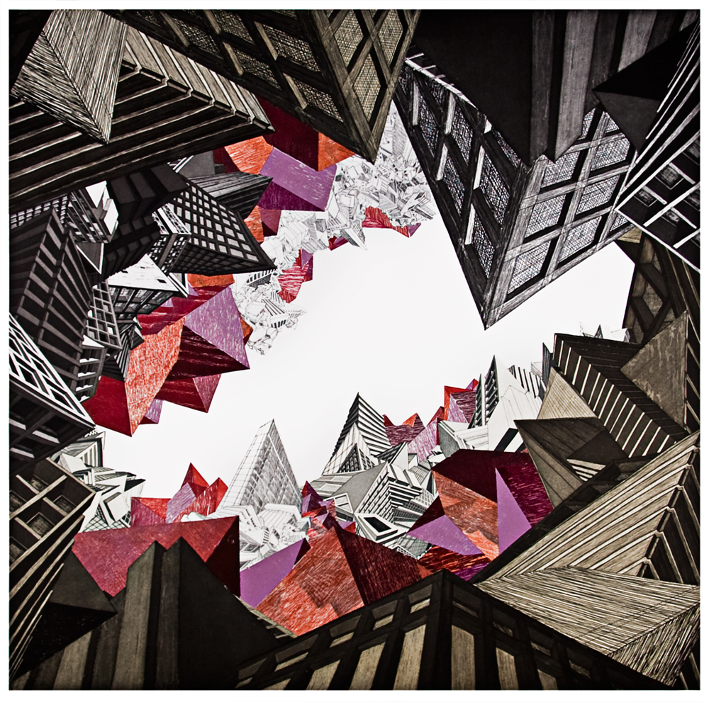 """Earth  2008; Etching, woodcut and collage on paper; 41"""" x 41""""; Published by Pace Editions; Edition of 20"""