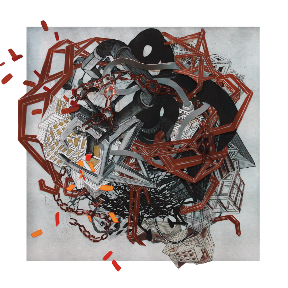 """Urban Transformation #6  2009; Etching, lithography, woodcut on mylar and paper, collage; 30"""" x 30"""" (Hand-cut variable edges); Published by Tandem Press; Edition of 12"""