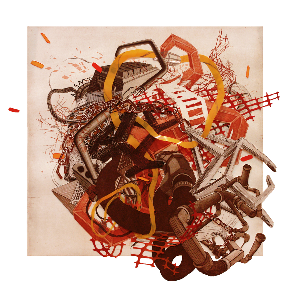 """Urban Transformation #3  2009; Etching, lithography, woodcut on mylar and paper, collage; 30"""" x 30"""" (Hand-cut variable edges); Published by Tandem Press; Edition of 12"""