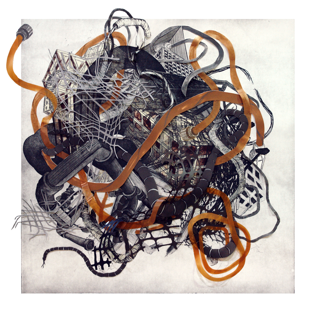 """Urban Transformation #4  2009; Etching, lithography, woodcut on mylar and paper, collage; 30"""" x 30"""" (Hand-cut variable edges); Published by Tandem Press; Edition of 12"""